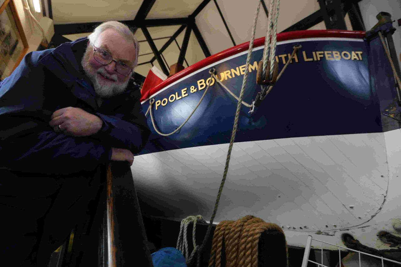 WANTS LIFEBOAT TO STAY: Poole Quay Old Boathouse volunteer Dave Bowman with the Thomas Kirk Wright