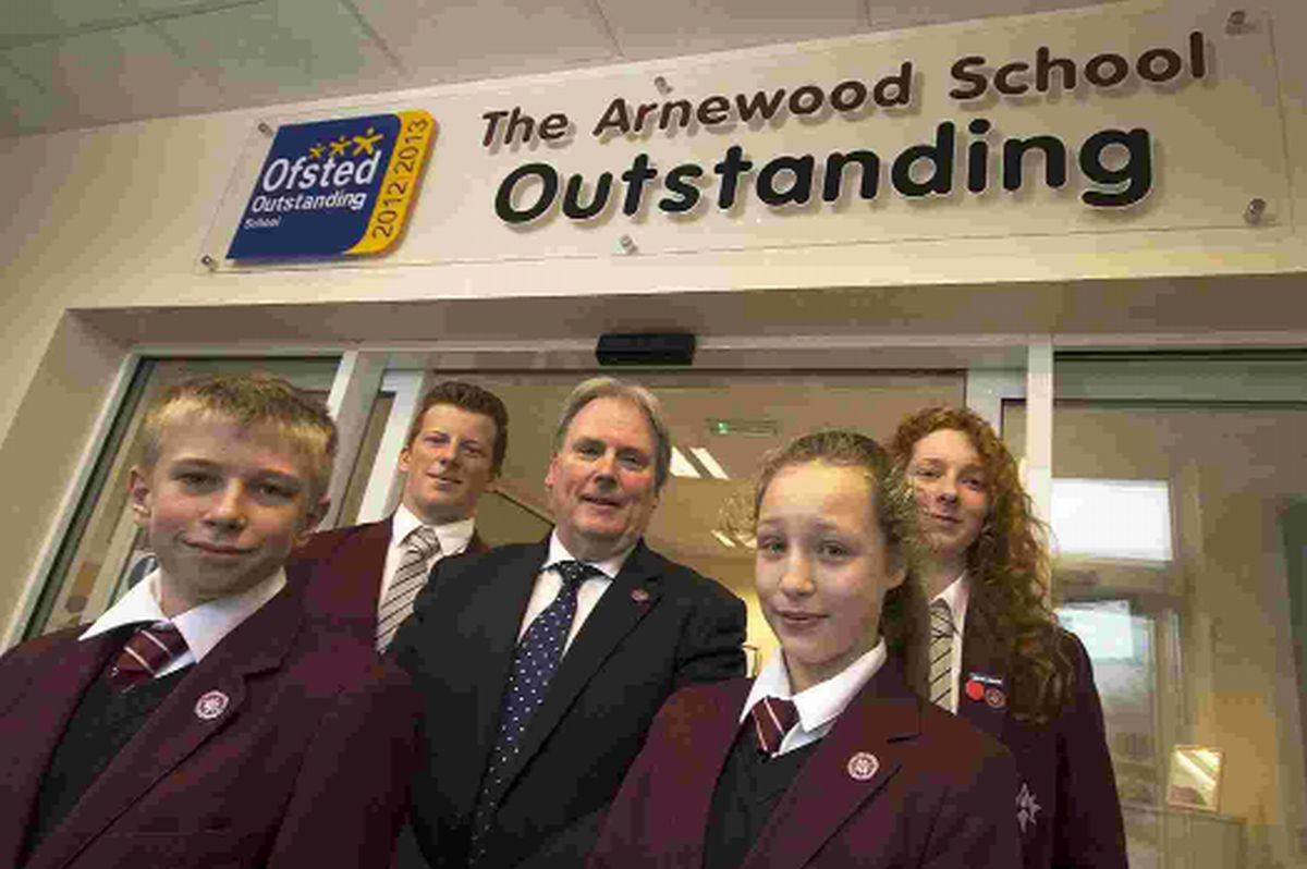 FANTASTIC YEAR: The Arnewood School's headteacher Chris Hummerstone with students Reece Butler, Finlay Wood, Georgina Hall and Leyla Campbell