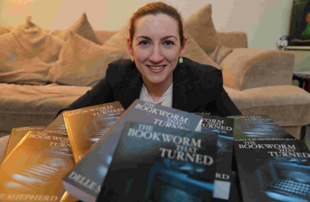 THRILLED: Delle Shepherd with her first crime novel The Bookworm that Turned