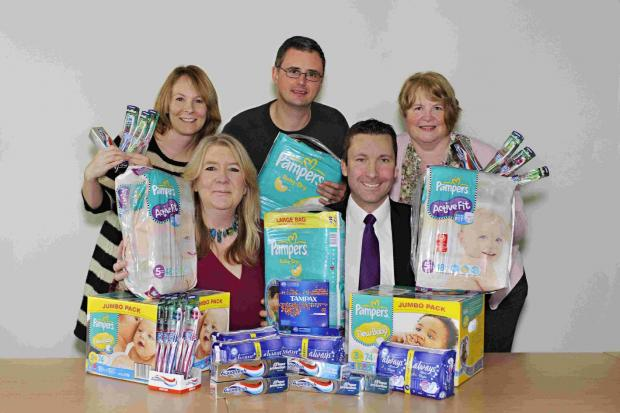 Health visitor Rachael Hearson, front left, with nappy bank supporters
