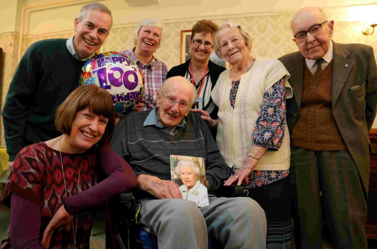 CELEBRATION: Norman Burton celebrated his 100th birthday  at the Retired Nurses Home in Bournemouth