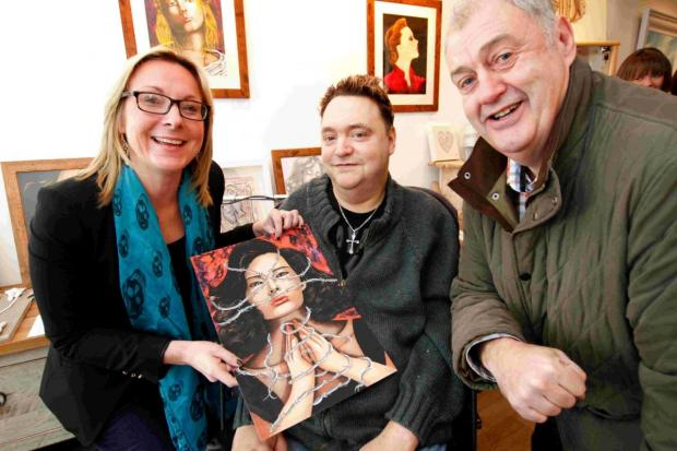 GALLERY: Artist Anson Harvey, 44, at the opening of his exhibition at Hatch Gallery, with tutor Sharon White and Keith Sked