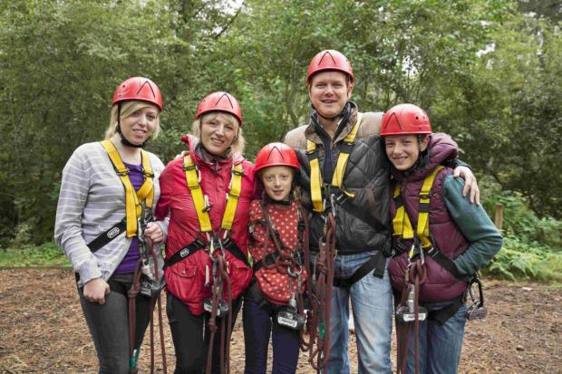 INTREPID: The Giddings family equipped ready for an  aerial adventure