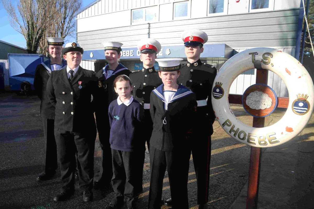 AYE AYE CAPTAIN: Bournemouth Sea Cadets outside of the new facility TS Phoebe Centre