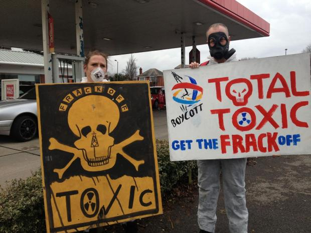Anti-fracking protestors picket Bournemouth petrol station