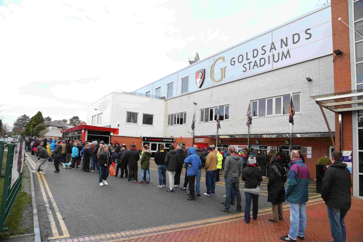 UP FOR THE CUP: Cherries fans queue at the Goldsands Stadium