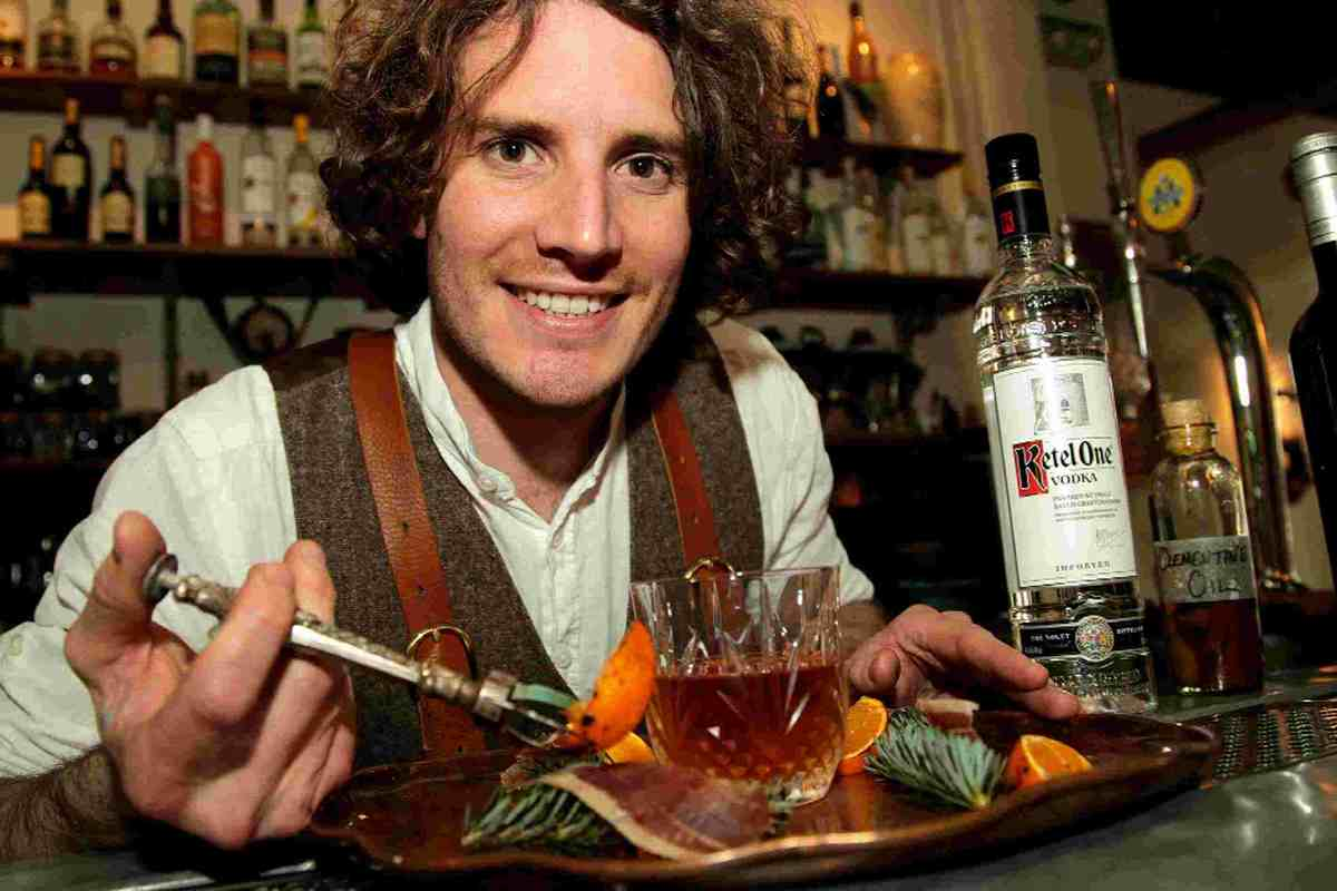 AIMING HIGH: James Fowler   with his award-winning cocktail Coppe