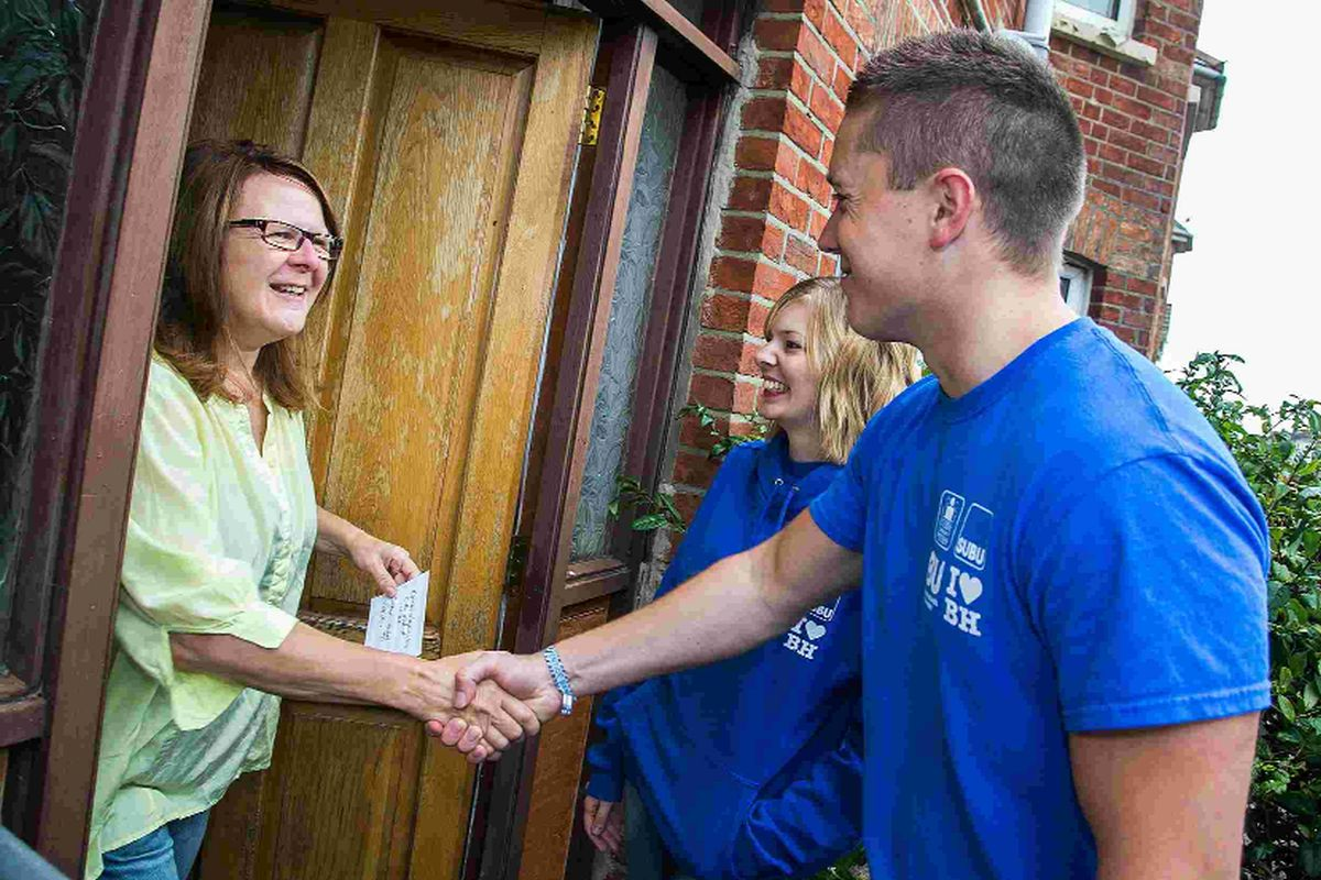 COMMUNITY: Student wardens introducing themselves to local residents in Winton