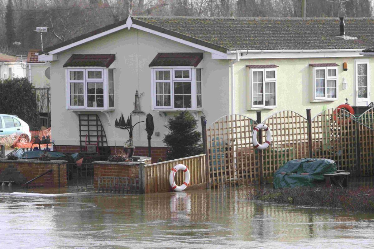 SUBMERGED: Flooding at Iford Bridge Home Park