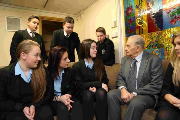 SURVIVOR:  Walter Kammerling with students from Winton College and Glenmoor School
