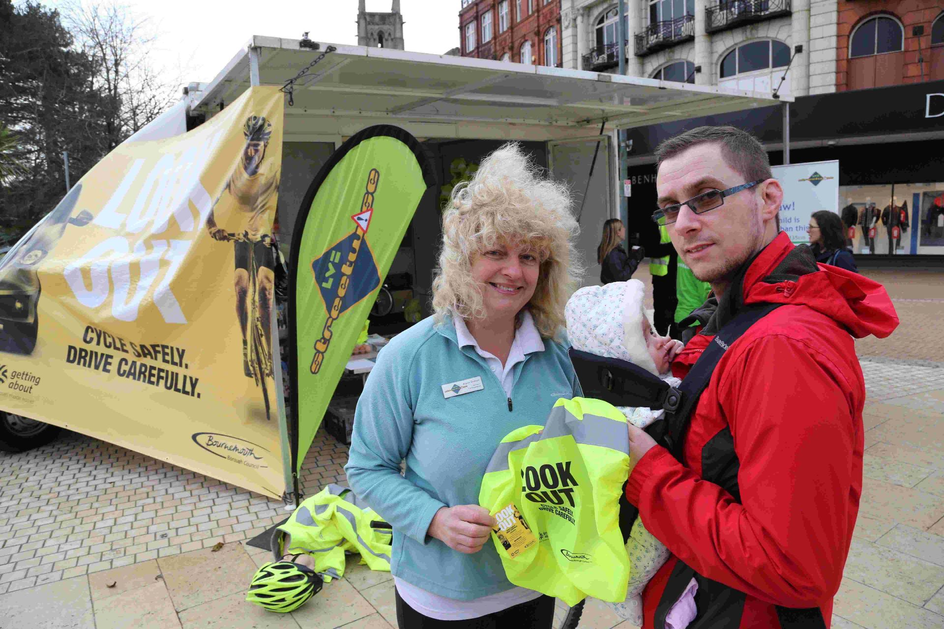 CYCLE wise: Alison Shelton from LV=Streetwise talks to Evan Kitson during the Lookout event held in Bournemouth Square to raise awareness for cyclists and motorists