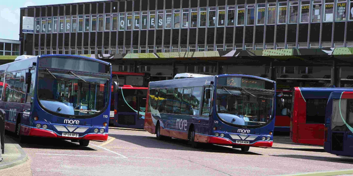CUTS: Wilts and Dorset buses at Poole bus station