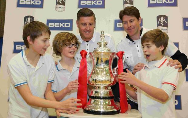 UP CLOSE AND PERSONAL: Former AFC Bournemouth stars Steve Fletcher and Darren Anderton with  Bournemouth School students – and the FA Cup