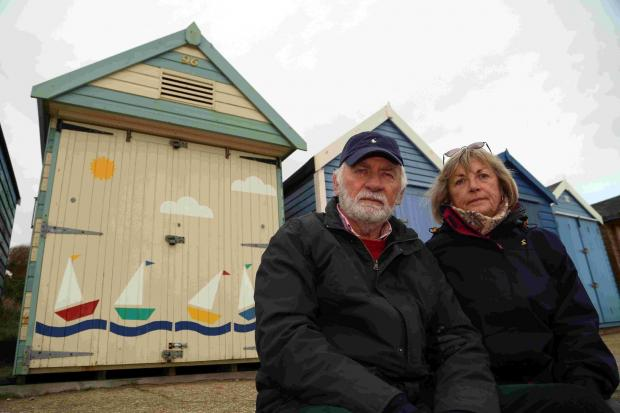 Bournemouth Echo: PERSPECTIVE: Gordon and Janet Espley, whose hut on Avon Beach has been found to be in breach of colour scheme regulations