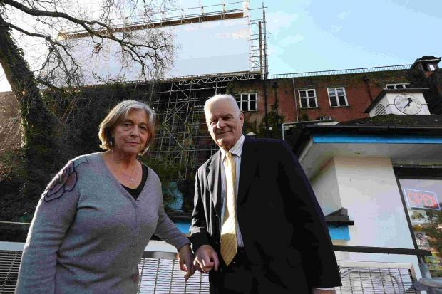 DERELICT: Cllr Anne Filer and Cllr Michael Filer outside the Cliff End Hotel site in Boscombe.