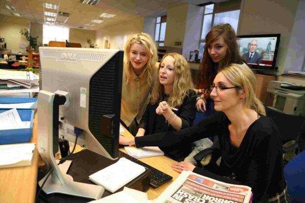 Student Eye: From left, Kassia Hope Wordley, Anna Pujol-Mazzini and Jodie Boyce with Daily Echo website assistant Sarah Cartlidge