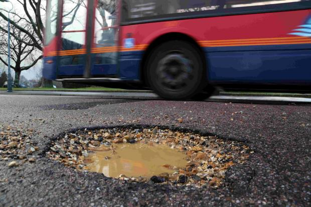 Bournemouth Echo: A pothole in Mandale Road, Bournemouth