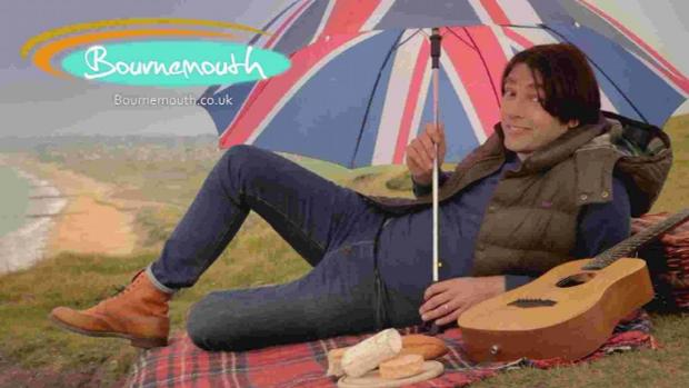PARODY: Alex James in the final shot from Bournemouth Tourism's online video spoofing the Visit California adverts
