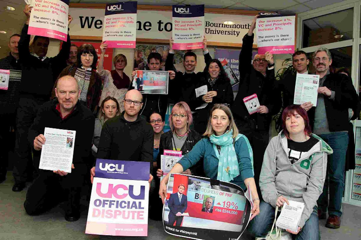 STANCE: Bournemouth University staff on strike as part of UCU action in a row over pay