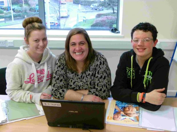 Bournemouth Echo: Apprentices Katie Matheiou and Ashley Norton with Tara Roudiani, MD at FNTC Training
