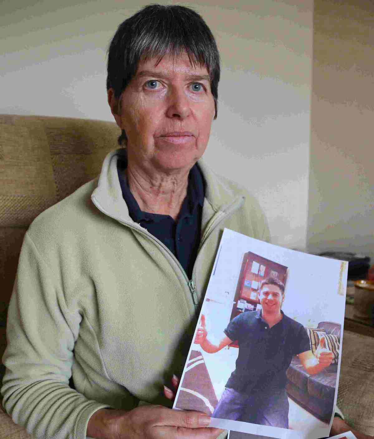Distraught: missing man Aaron Fiveash's mother Maureen is appealing for information on his whereabouts