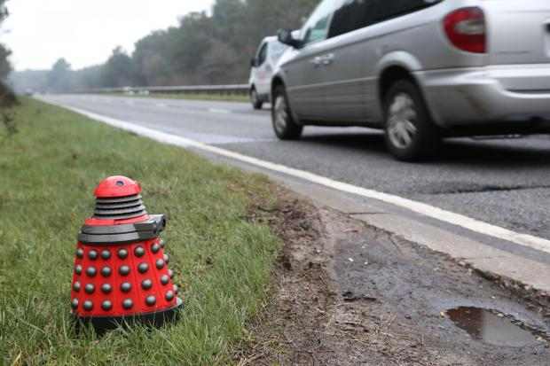 Dr What? Dalek spotted at side of A338 Spur Road