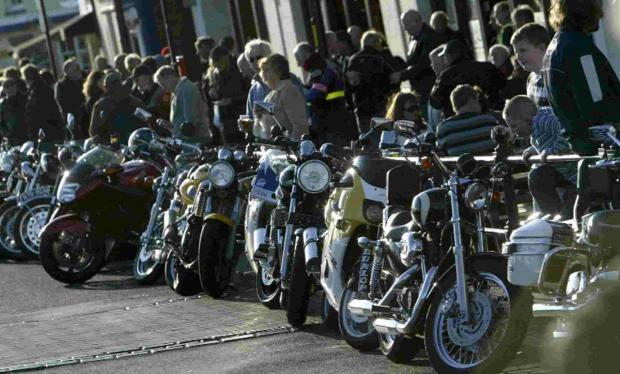 Hundreds of motorbikes line Poole Quay
