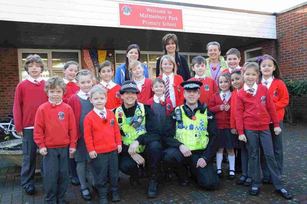SAFETY FIRST: PC Jo Murphy and PCSO Rich Frew were discussing road safety the pupils