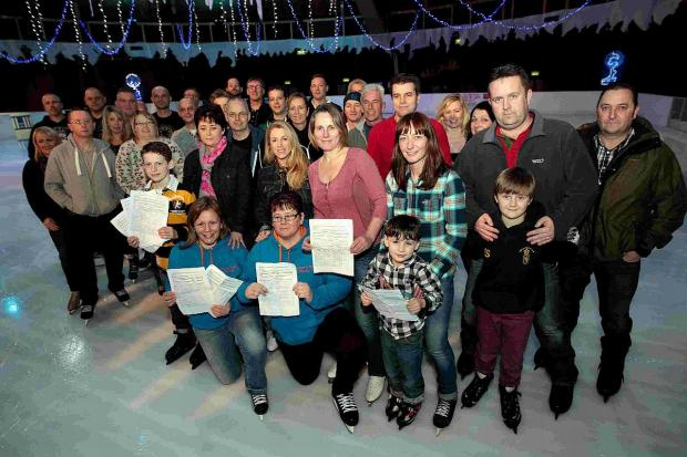 SUPPORT: Campaigners for a new skating rink in Bournemouth gather at the current BIC temporary rink with their petitions