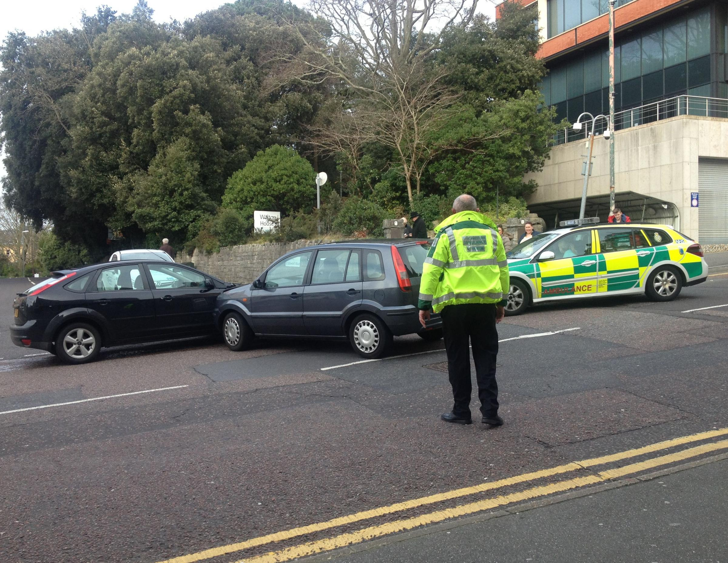Two cars collide in Bournemouth town centre