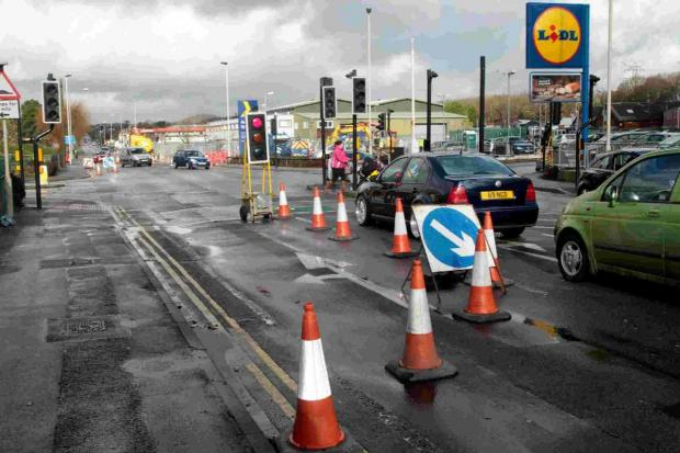 TRAFFIC CHAOS: Roadworks in Hamworthy