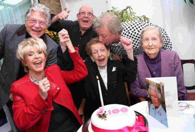 PARTY: Lover  of life, Elsie Daines, centre, celebrates with family and friends