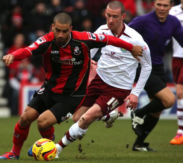 AT THE DOUBLE: AFC Bournemouth striker Lewis Grabban.