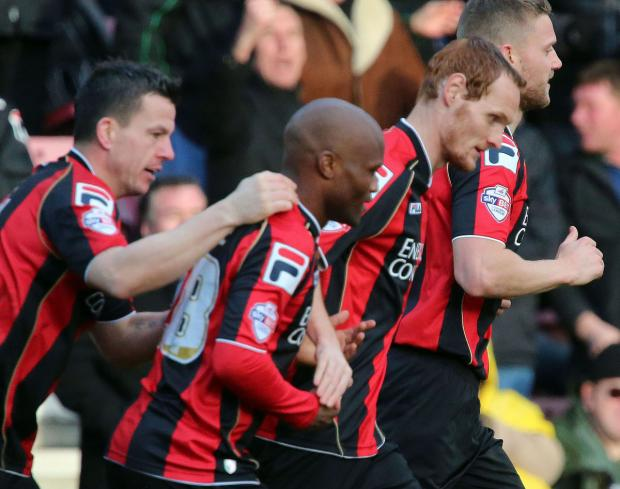 Bournemouth Echo: GOAL GLEE: Tokelo Rantie is congratulated by team-mates