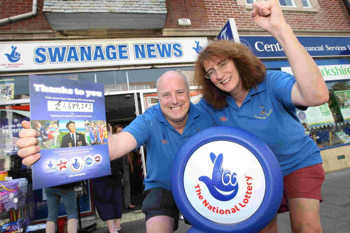 WINNERS: Swanage News owners Andy and Linda James