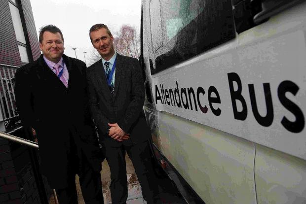 setting standards: Magna Academy senior vice principal Jonathan Heap, left, with senior student support manager Courtney Fawcett