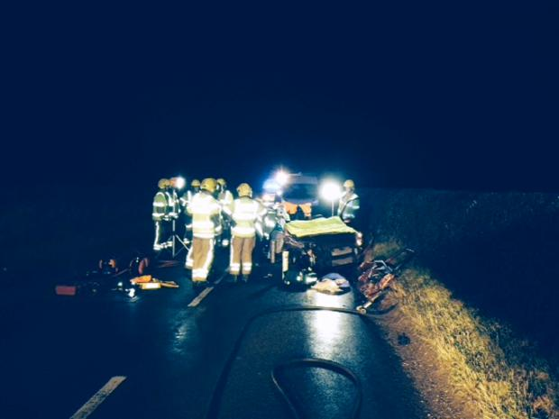 Bournemouth Echo: Emergency crews deal with crash at Horton. Pic: Dorset Fire and Rescue Service.