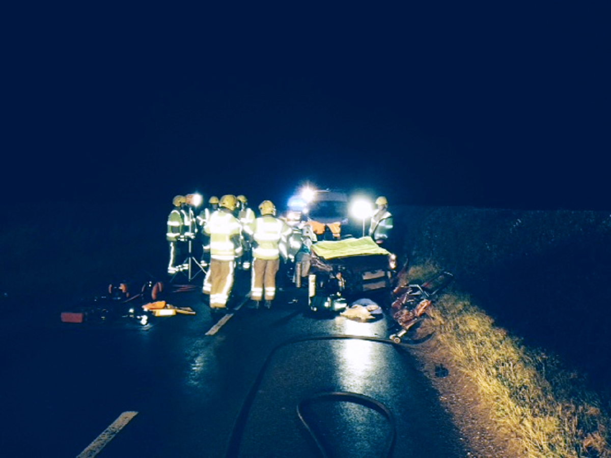 Emergency crews deal with crash at Horton. Pic: Dorset Fire and Rescue Service.