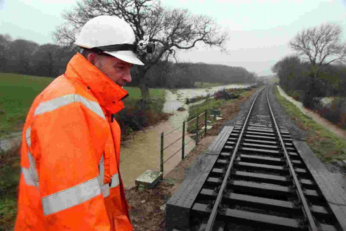 NO PROBLEMS: Inspectors check the railway