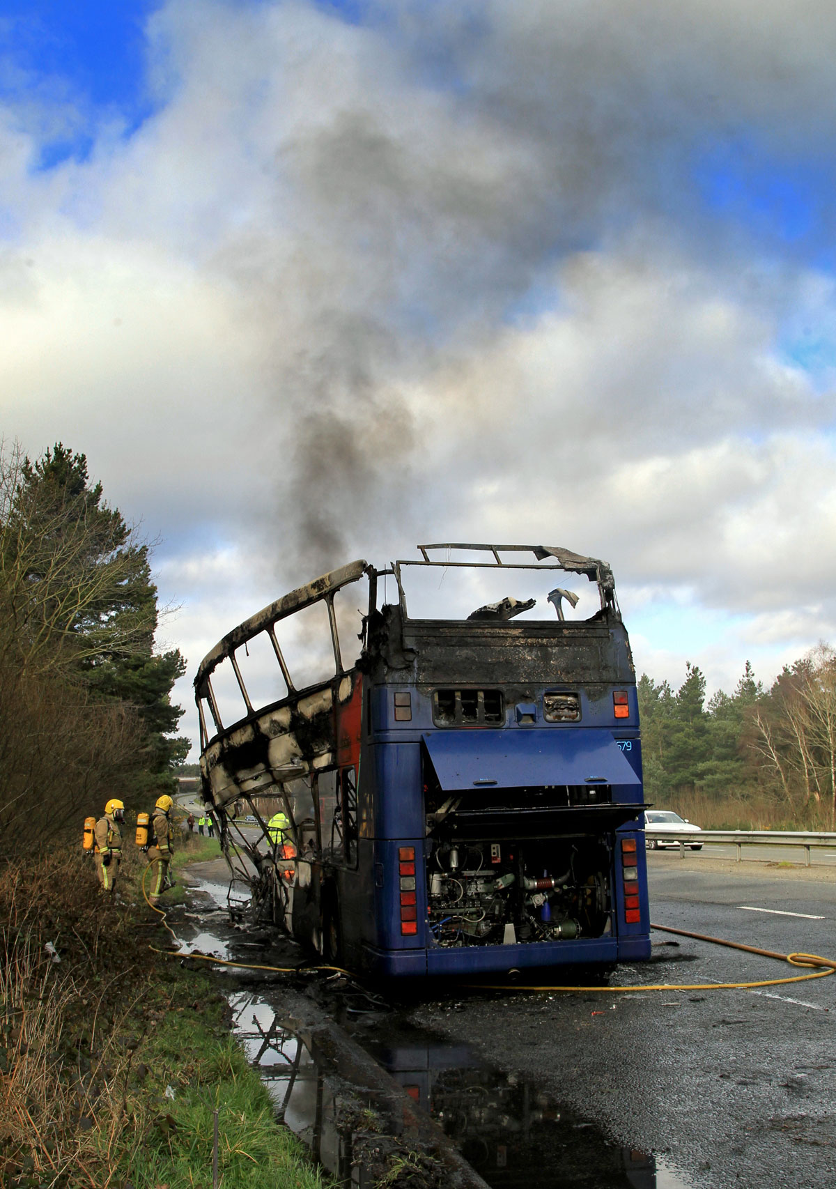 VIDEO: Double decker bus fire causes traffic chaos on the A338 Spur Road
