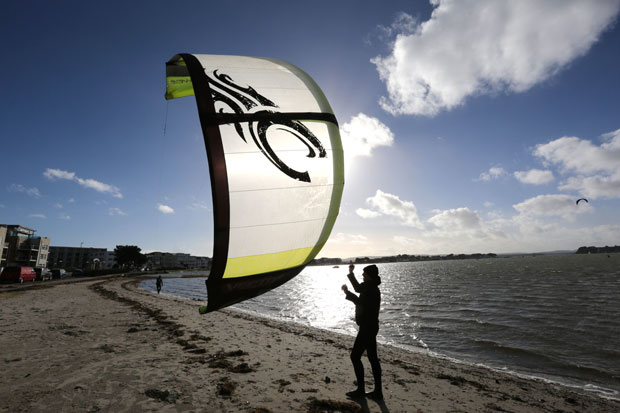 Bournemouth Echo: Kitesurfer at Poole Harbour