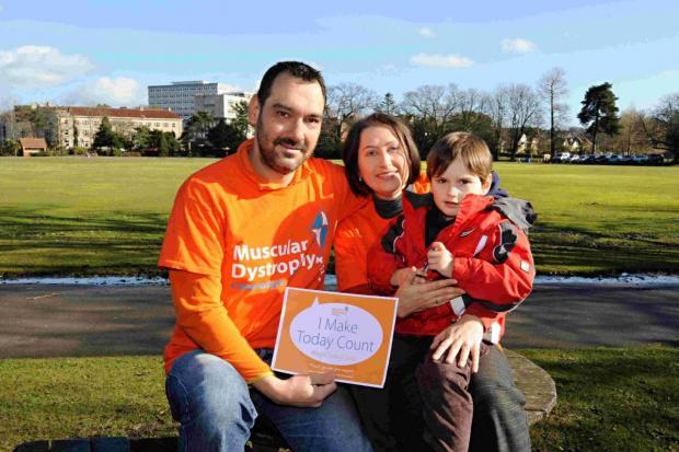 RAISING: Luca Fernandes with his parents, Pedro Fernandes and Joanne Scott-Fernandes