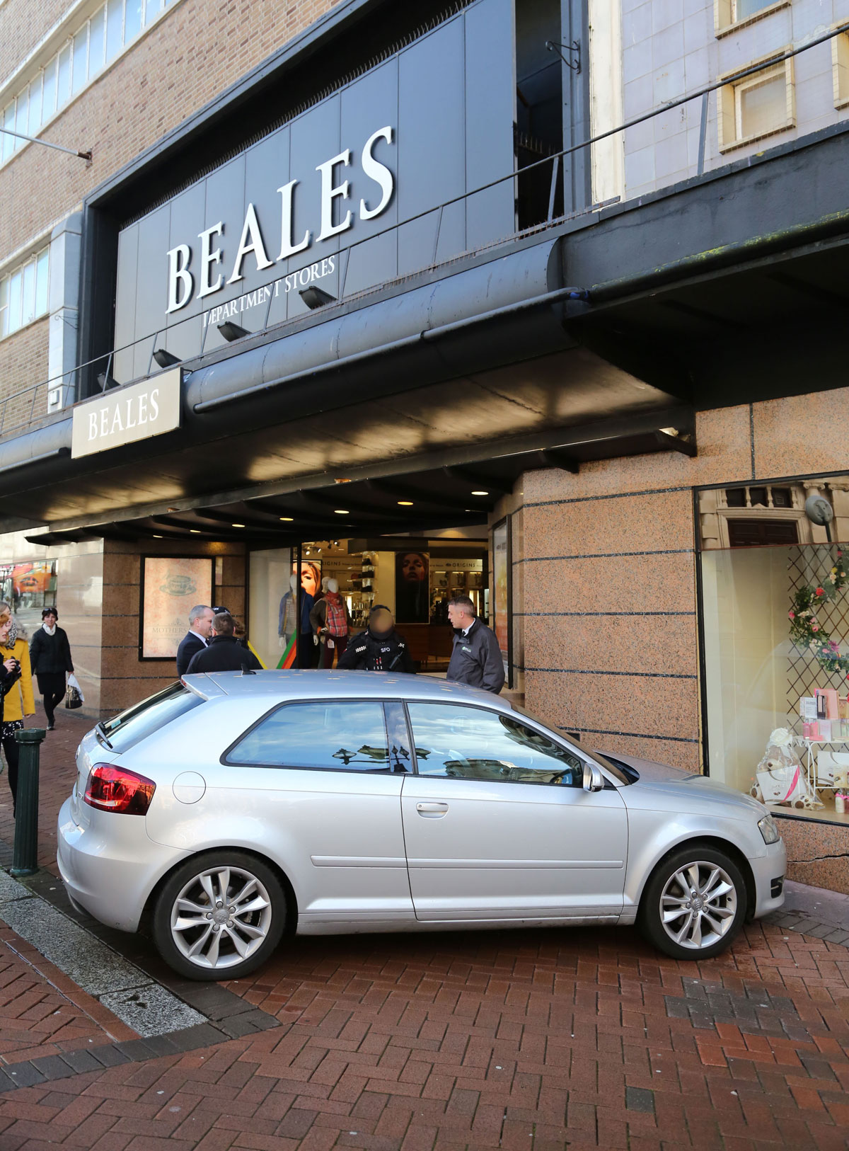Driverless car crashes into front of Beales department store