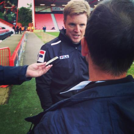 BOSS: Eddie Howe speaks to the media following Cherries' big win
