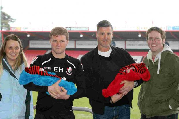 Could these twins be AFC Bournemouth's youngest fans? Three-month-old Molly and Ivy meet Eddie Howe and Steve Fletcher