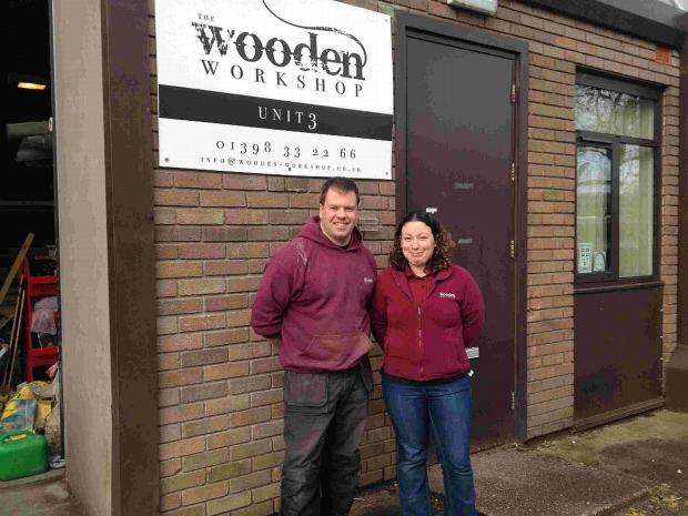 HUT'LL DO NICELY: Dean and Laura Lander at The Wooden Workshop in Bampton, Devon