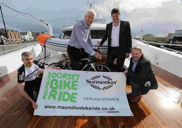 PEDAL POWER: Cricket legend David Gower launches the 2014 Macmillan Bike Ride on board the latest and largest yacht built by Sunseeker