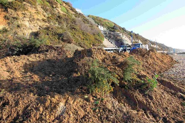 CRASHED DOWN: The recent landslip on Bournemouth prom