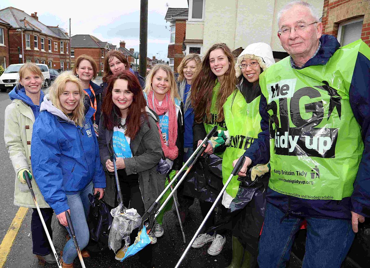 CLEAN-UP: Bournemouth Student Union volunteers pick litter with Winton councillor Pat Oakley