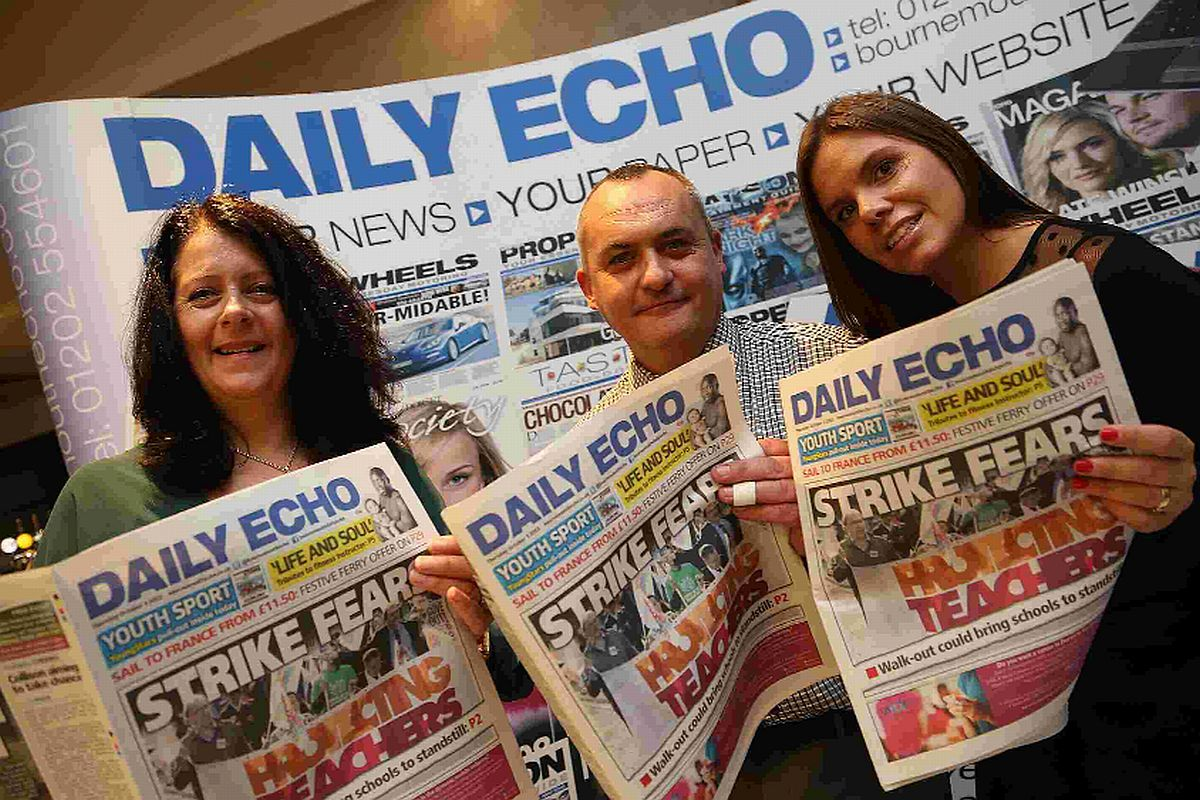 SPECIAL EVENT: Daily Echo classified manager Angela Boyer with sales advisor Robbie Sneddon and recruitment consultant Helen Fudge-Harman at the Echo's stand